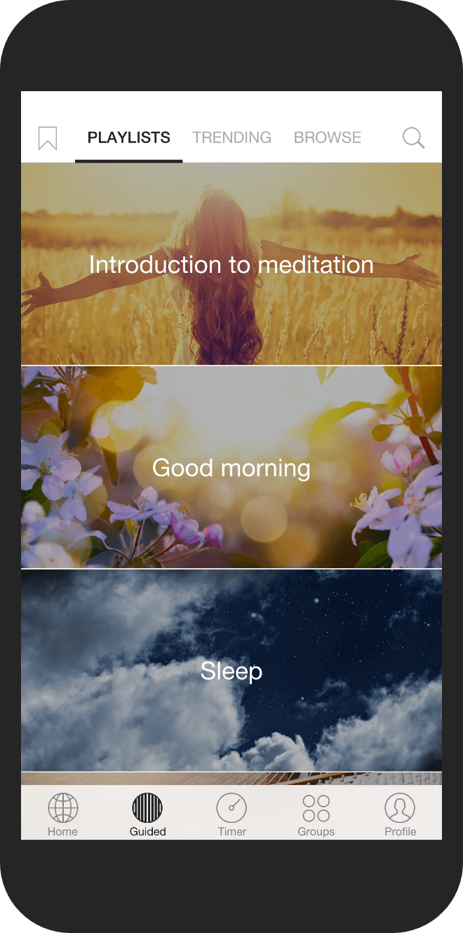 Meditation library screenshot on Insight Timer's mobile app